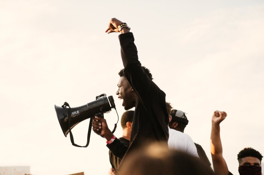 Ryan Staples, 18, speaks an a protest against police brutality and racism in O'Fallon, Missouri on June 1, 2020.