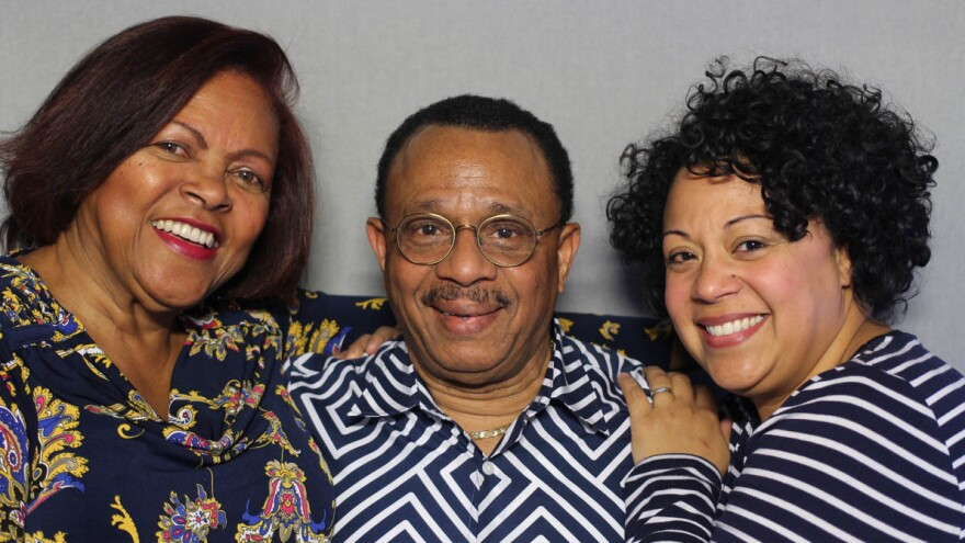 Roy Daley, 74, with his wife, Ana Smith-Daley, 71, (left) and his daughter, Lucy Figueroa, 41, at StoryCorps in Austin, Texas.