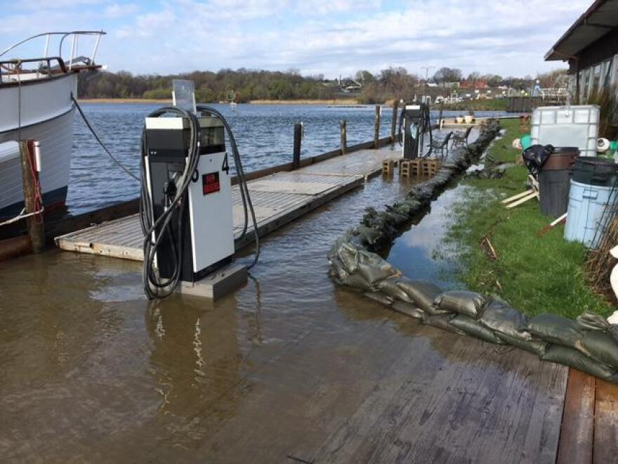 photo of flooded gas dock