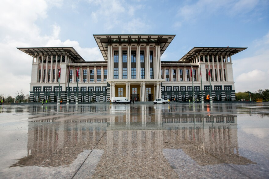 Turkey's new presidential palace in the capital, Ankara, has an official price tag of $615 million and more than 1,000 rooms. President Recep Tayyip Erdogan says <em>Ak Saray</em>, or the White Palace, is not his palace, but that of Turkey. But not everyone is so sure.