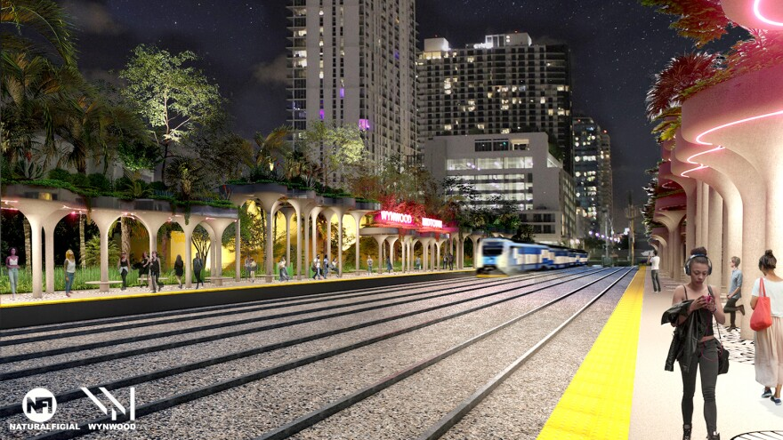 A rendering of a proposed commuter rail station in Wynwood.