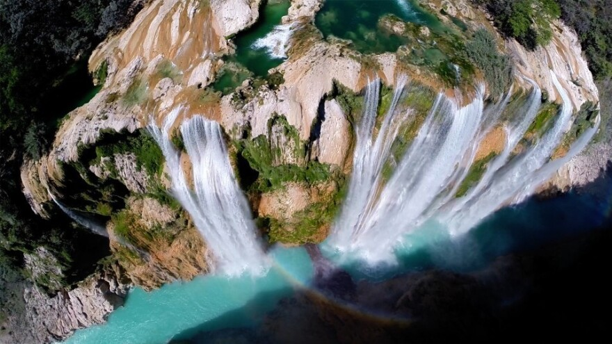"The Tamul waterfall in San Luis Potosí, Mexico, is seen in this image taken with the help of a drone aircraft. The water reportedly falls <a href=""http://travel.nationalgeographic.com/travel/365-photos/tamul-waterfall-mexico/"">more than 340 feet</a>."
