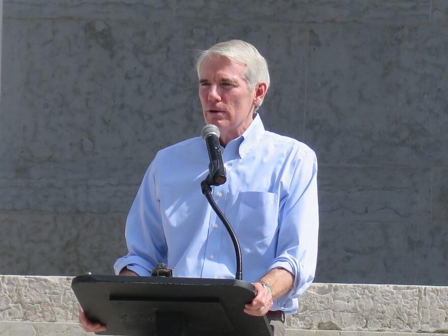 Sen. Rob Portman (R-Ohio) addresses press during a speech at the Ohio Statehouse.