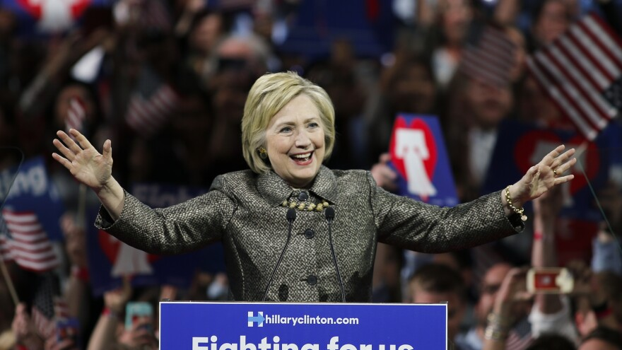 Hillary Clinton addresses supporters after winning four of five Northeastern states Tuesday night.