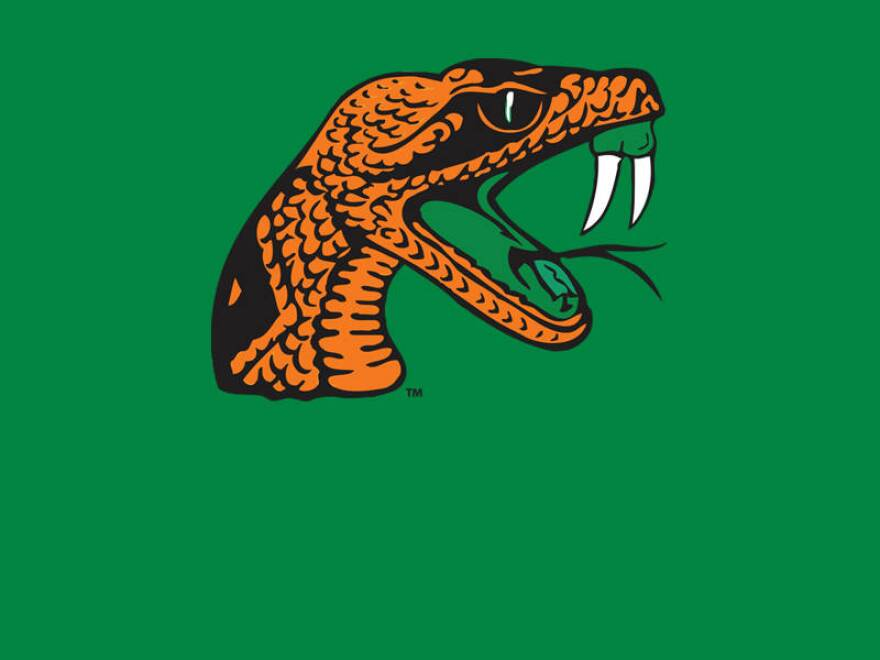 An orange snake, fangs bared, on a green background.