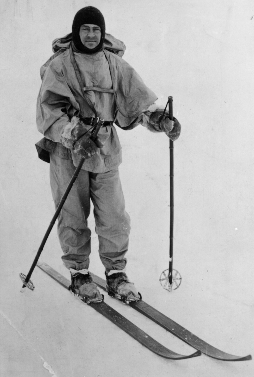 British explorer Robert F. Scott during his doomed Antarctic expedition, circa 1912.