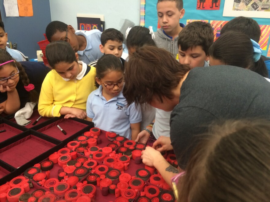 Coral Terrace students work with the Ladds on a collaborative piece that will be displayed in the Ladds' exhibit at the Miami-Dade College Museum of Art + Design.