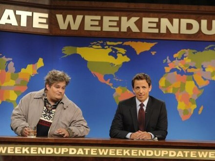 """Bobby Moynihan (left) appears on <em>Saturday Night Live</em> as the character """"Drunk Uncle."""""""