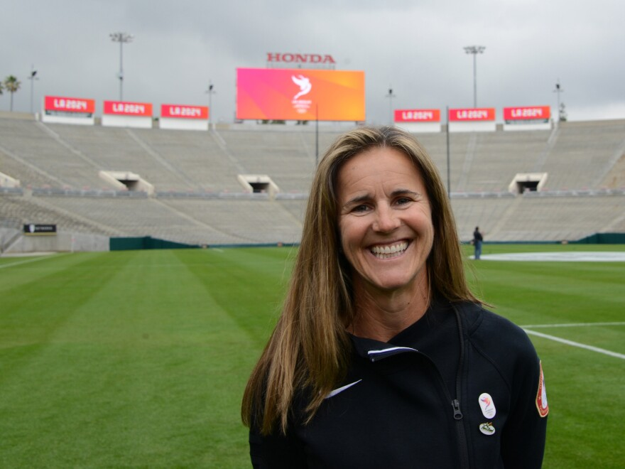 Brandi Chastain at the Rose Bowl in 2017.