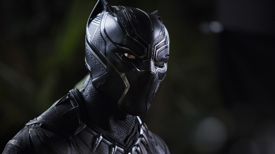 "The triangular patterns visible in Chadwick Boseman's Black Panther suit reflect what costume designer Ruth Carter calls ""the sacred geometry of Africa."""