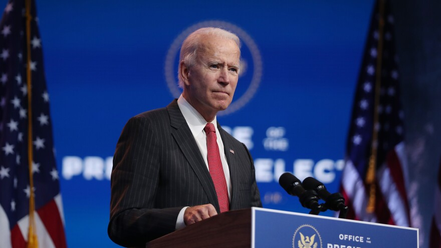 President-elect Joe Biden addresses the media on Nov. 19 in Wilmington, Del. He is announcing a new list of nominees to serve in his incoming administration on Tuesday.