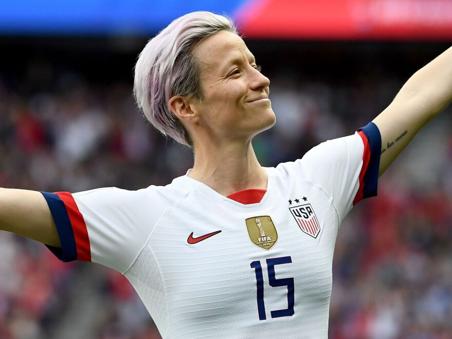 Megan Rapinoe celebrates scoring her team's first goal during the 2019 Women's World Cup quarter-final match between France and the United States.