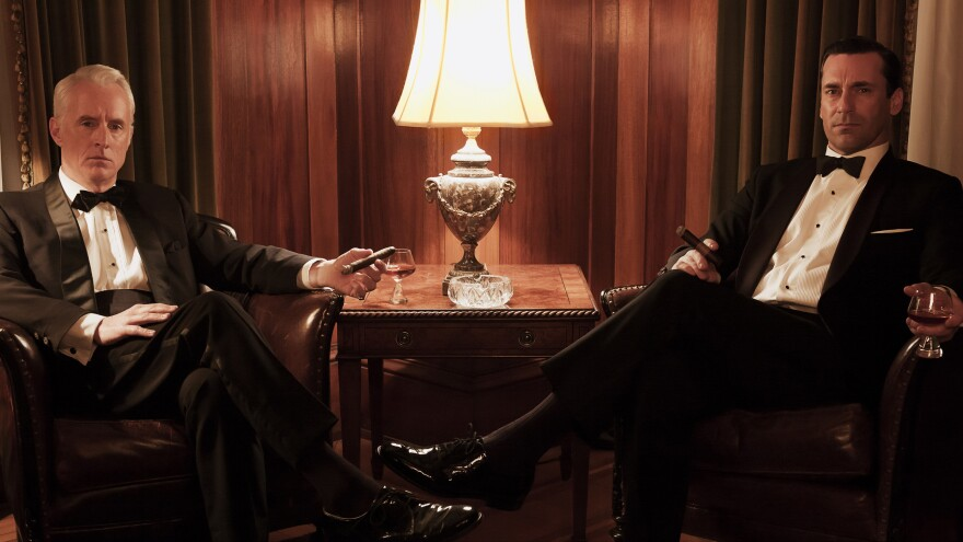 We won't give away any of the details about his personal life, but we can say that the two-hour season premiere of <em>Mad Men</em> shows Don Draper (Jon Hamm, right, with John Slattery's Roger Sterling) as his silver tongue fails him.