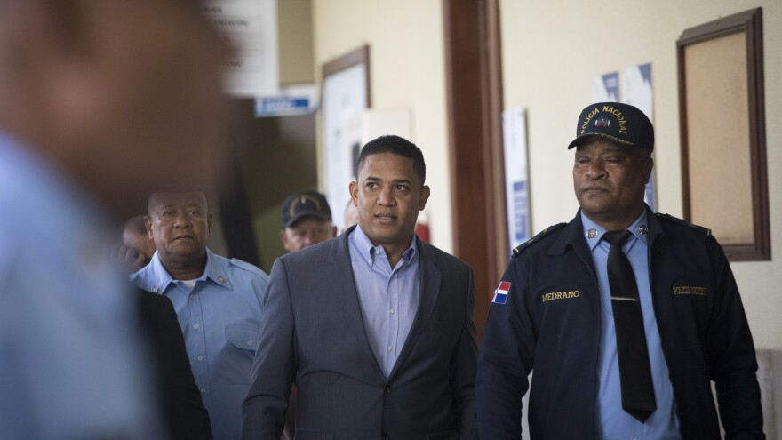 Octavio Dotel leaves a courtroom Wednesday in Santo Domingo, Dominican Republic, one day before the former major league pitcher was released on bail. On Thursday, a judge cleared him and former MLB player Luis Castillo of allegations that they had supported a drug trafficking ring.