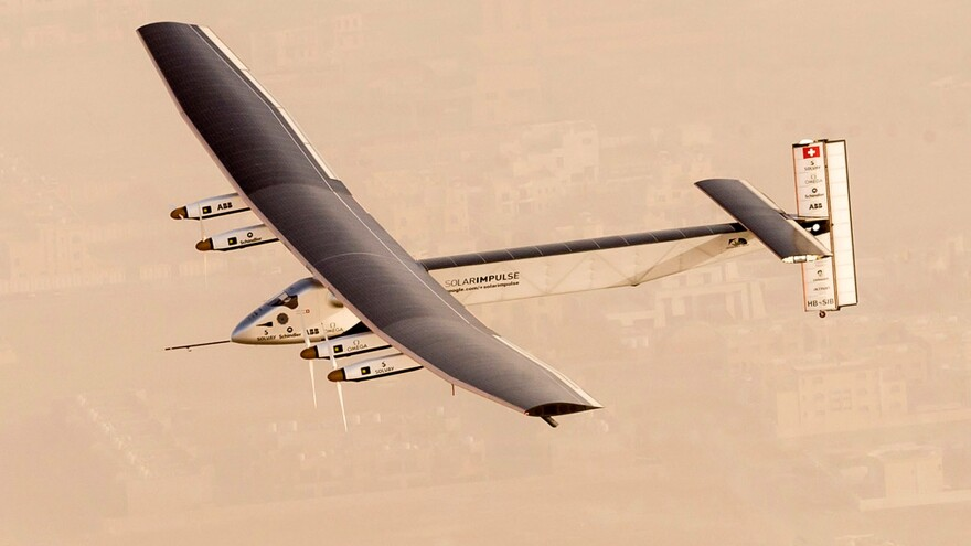A handout image from Solar Impulse 2 shows the solar-powered airplane flying at the start of an attempt to make a historic round-the-world journey.