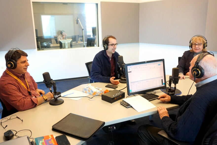 St. Louis Public Radio politics editor Fred Ehrlich (at left) and political reporters Jason Rosenbaum (center) and Jo Mannies (at right) joined host Don Marsh during Thursday's talk show.