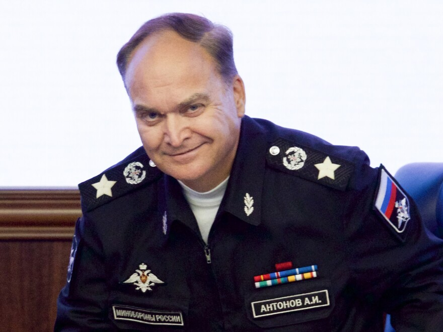 "Anatoly Antonov smiles at an October 2016 briefing at Russia's Defense Ministry in Moscow. Antonov is ""able to shift in a nanosecond from warmly charming to caustically sarcastic,"" says a former U.S. defense official."