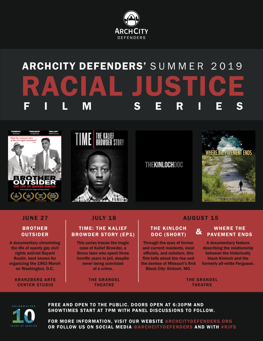 ArchCity Defenders will showcase four films over the span of three months. Nancy Kates and Bennett Singer's film 'Brother Outsider: The Life of Bayard Rustin' will kick off the first showing of the racial injustice film series on Thursday.