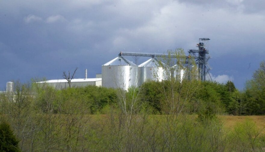The ethanol industry stands to lose its federal subsidy in the current deficit talks. The grain bins of Missouri's first ethanol plant are seen in this file photo.