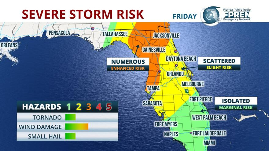 The risk for severe storms for the Tampa Bay area is expected to be greatest between 2 and 4 p.m.