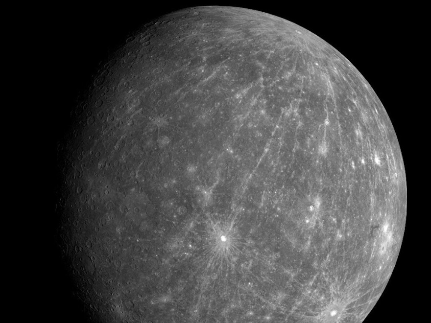 Researchers say they have identified traces of ice in craters on Mercury, seen here in this Oct. 8, 2008, image from the Messenger spacecraft.