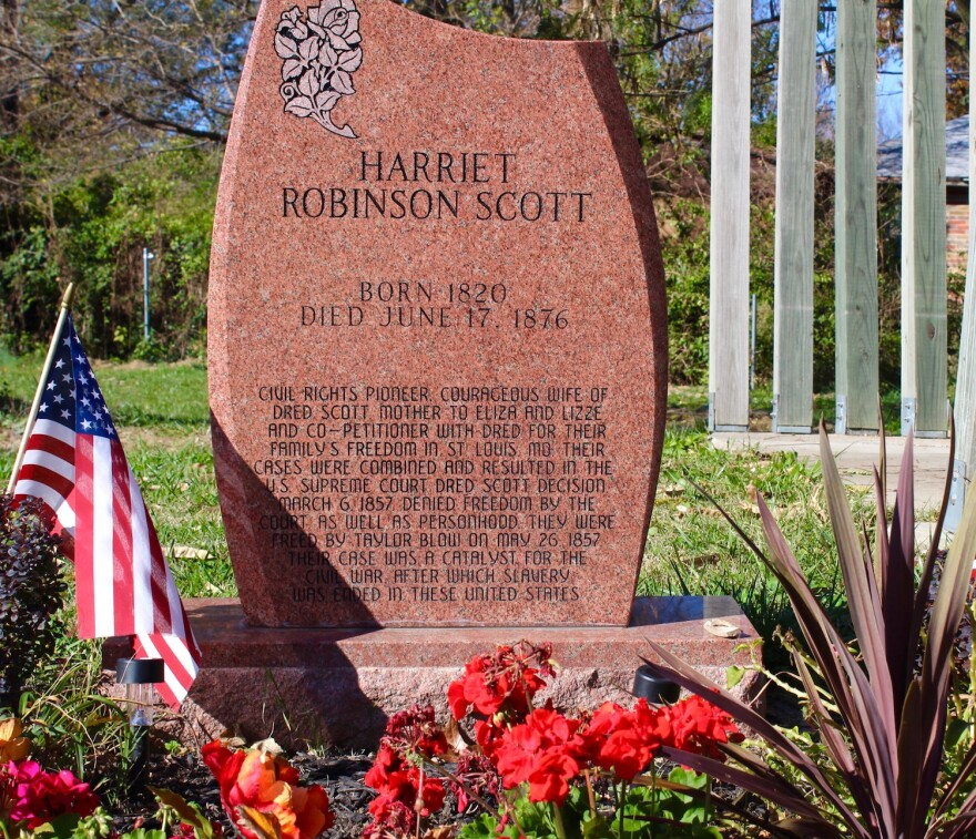A memorial to Harriet Scott at Greenwood Cemetery in St. Louis.