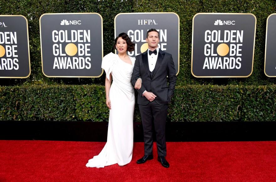 Golden Globe hosts Sandra Oh  and Andy Samberg