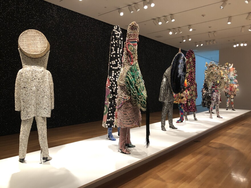 Nick Cave's sound suits are constructed from thousands of pieces of found objects.