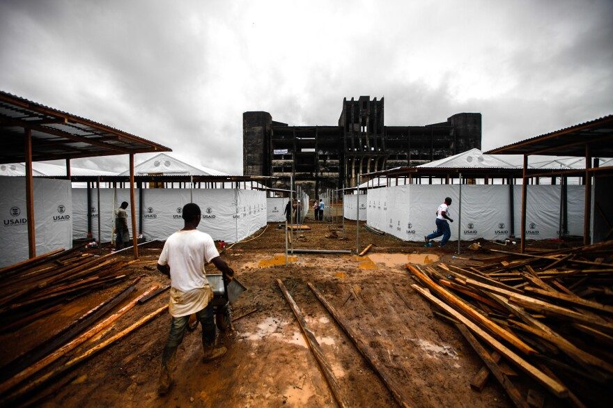 In September, this 300-bed Ebola treatment unit, funded by the U.S., was under construction in Monrovia, Liberia's capital.
