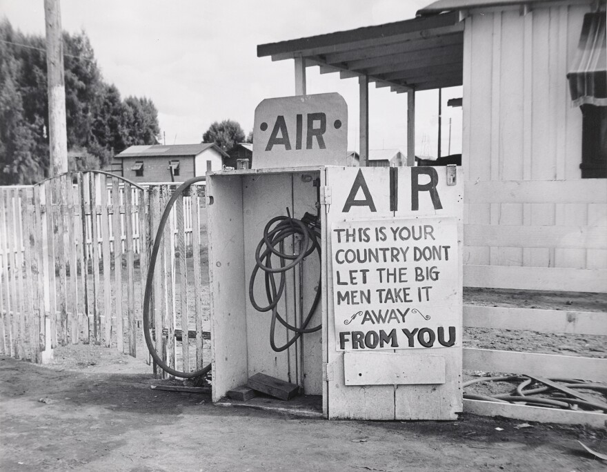 Dorothea Lange's <em>Kern County, California</em> (1938). The photographer's most famous work came while she was working with Depression-era federal programs, seeking to document the human fallout of the great economic collapse.