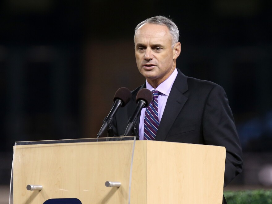 Chief Operating Officer of Major League Basball Rob Manfred speaks June 26 during a Memorial Tribute To Tony Gwynn by the San Diego Padres at PETCO Park in San Diego.