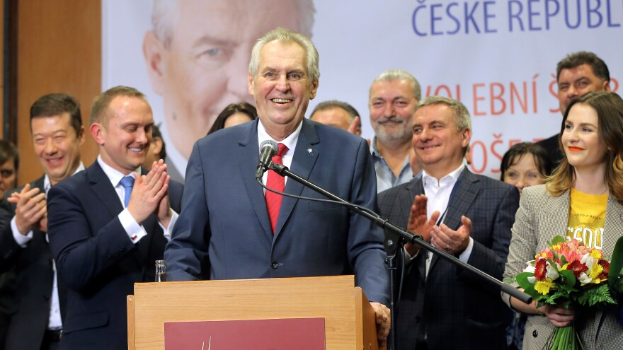 Czech President Milos Zeman in Prague Saturday. Zeman has opposed immigration and supports closer ties with Russia.