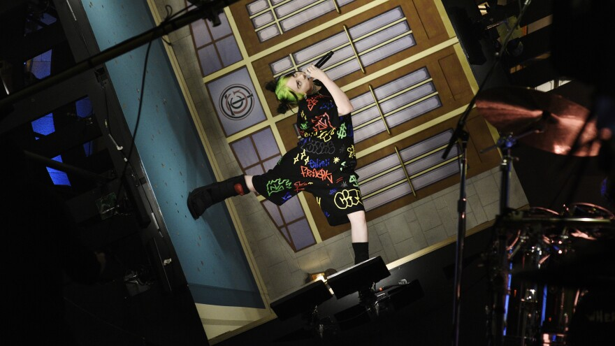 """SATURDAY NIGHT LIVE — """"Woody Harrelson"""" Episode 1768 — Pictured: Musical guest Billie Eilish performs on Saturday, September 28, 2019 — (Photo by: Will Heath/NBCU Photo Bank/NBCUniversal via Getty Images via Getty Images)"""