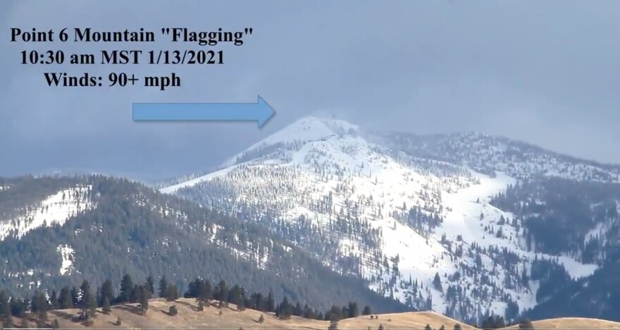 Screen capture from a National Weather Service video showing wind blowing snow off of Point Six mountain near Missoula at 10:30 a.m., January 13, 2021.