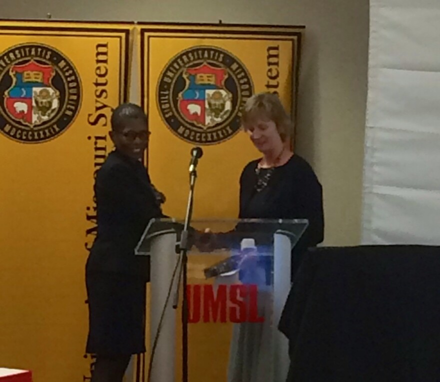 Yvonne Sparks of St. Louis (left) was sworn in as a member of the University of Missouri Board of Curators in December. She resigned from the board this week.