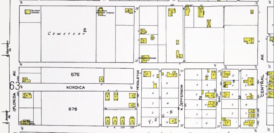 A 1922 street map of Tampa still shows Zion Cemetery. COURTESY TAMPA BAY HISTORY CENTER TOUCHTON MAP LIBRARY
