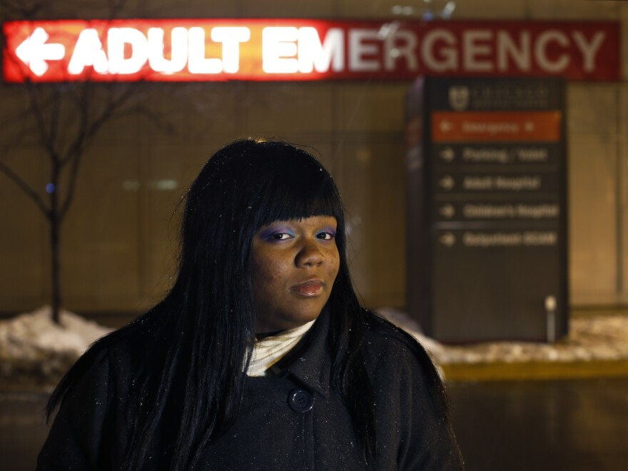 Veronica Morris-Moore stands outside the adult emergency room at the University of Chicago Medical Center in Feb. 2013. Morris-Moore was one of many activists pressuring the medical center to reopen an adult trauma center it closed in the 1980s.