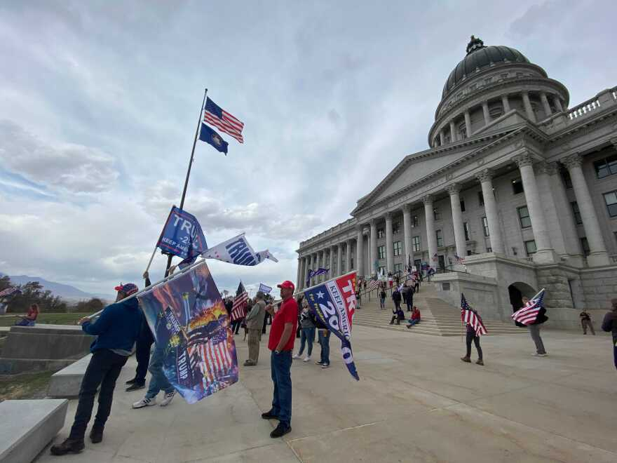 Trump supporters protesting at the Utah State Capitol.