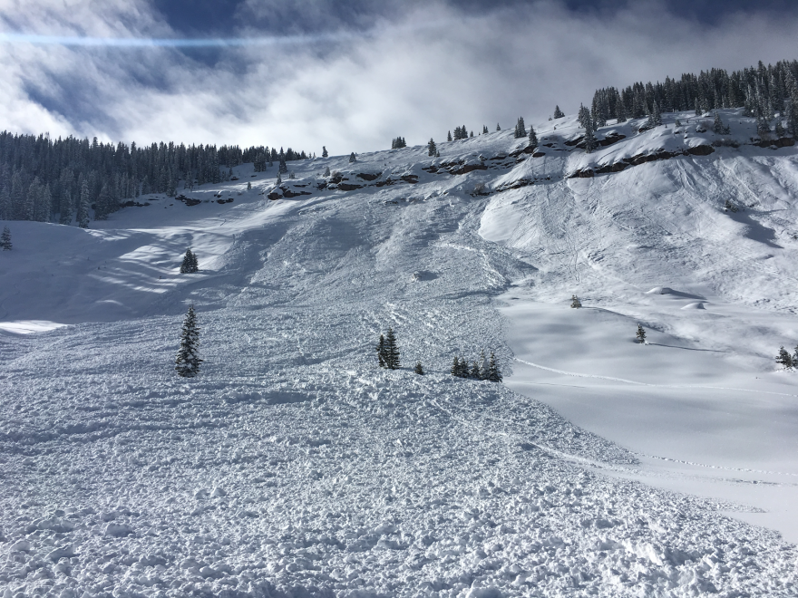 An avalanche in the East Vail Chutes in 2018.