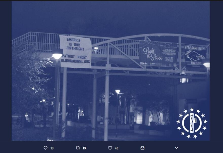 A screen grab of a photo of the banner displayed at the University of Texas-San Antonio campus.
