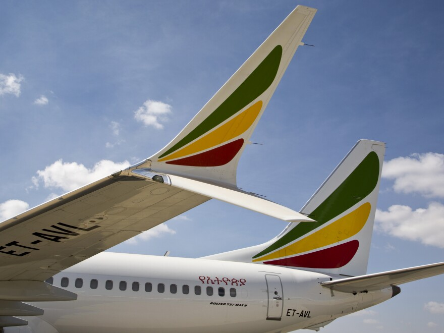 This Ethiopian Airlines Boeing 737 Max 8, seen last Saturday, is one of those grounded following the crash that killed 157 people.