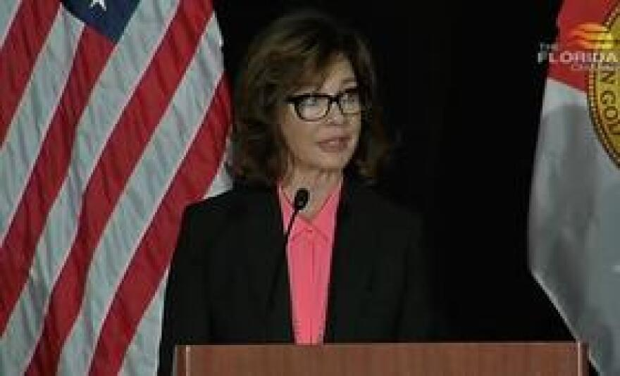 Actress Anne Archer, also a human rights advocate, speaking at Monday's Human Trafficking Summit.
