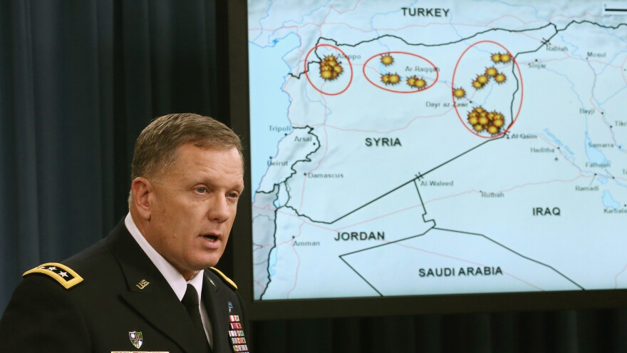 Lt. Gen. William C. Mayville Jr. speaks about the Syrian bombing campaign on Tuesday in Washington.
