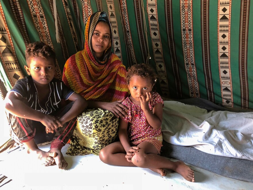 Azizah Salim and her two children ended up in the Obock refugee camp when she fled Yemen after her husband died last year and fighting in her town escalated. Her one wish for her children is that they remain healthy.