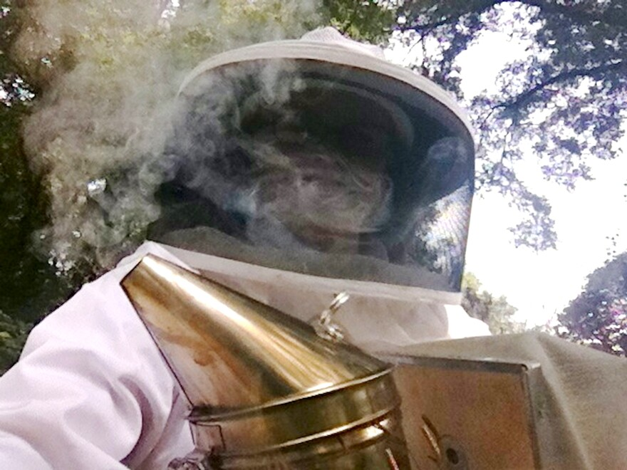 woman in a bee suit