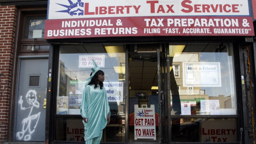A tax service company in Brooklyn, N.Y, on Tuesday, the filing deadline for federal taxes.