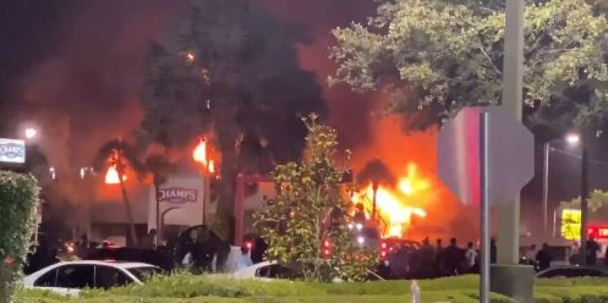 Building on fire during Tampa protests