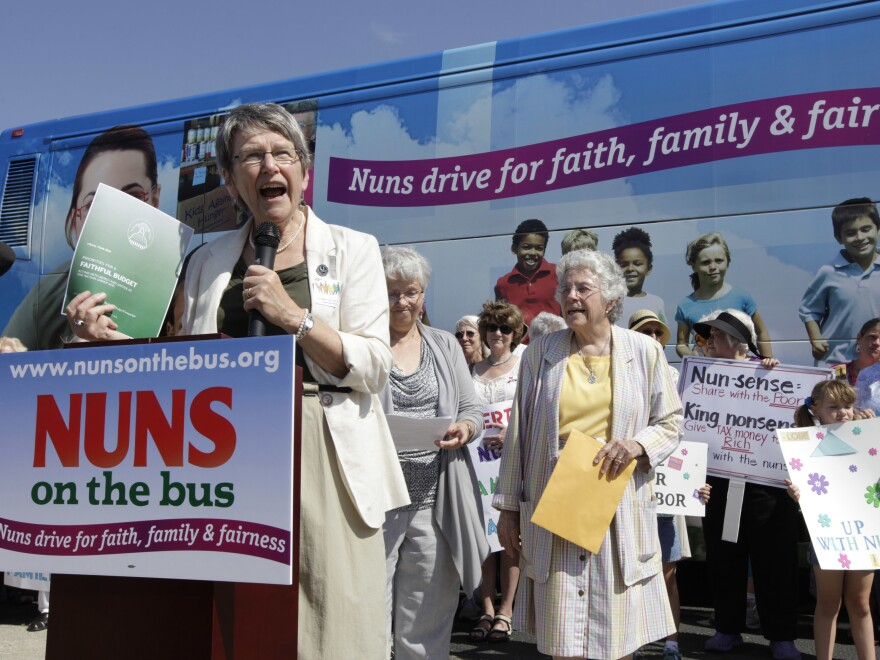 Sister Simone Campbell speaks during a stop on a Nuns on the Bus tour in 2012 in Ames, Iowa.
