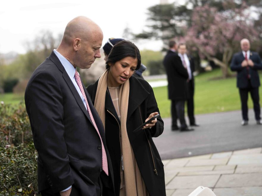 Pence press secretary Katie Miller, with chief of staff Marc Short in March, is the second person in the White House orbit to test positive for the virus this week.