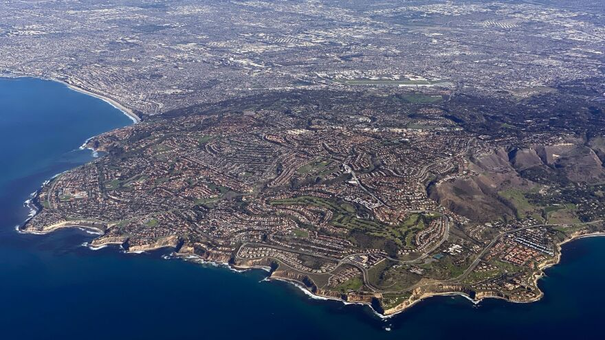 An aerial view of Rancho Palos Verdes, a suburb of Los Angeles.